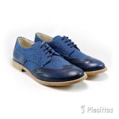 Blucher Piel y Lino Azul